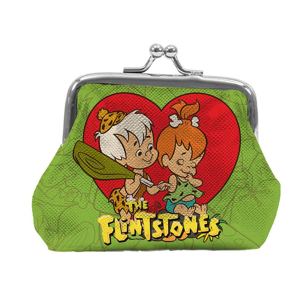 Porta Moedas Hanna Barbera The Flintstones Peeble And Bam Bam Fundo Verde em PVC - Urban - 9x8 cm
