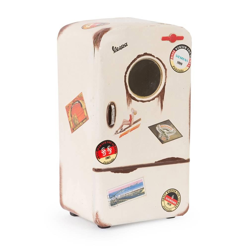 Porta Objetos Decorativo Modelo Geladeira Antiga Branca em Ferro - 28x16 cm