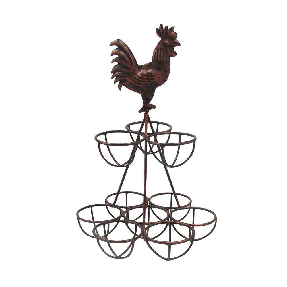 Porta Ovos Le Jazz Big Rooster Cobre em Metal - Urban - 28x18 cm