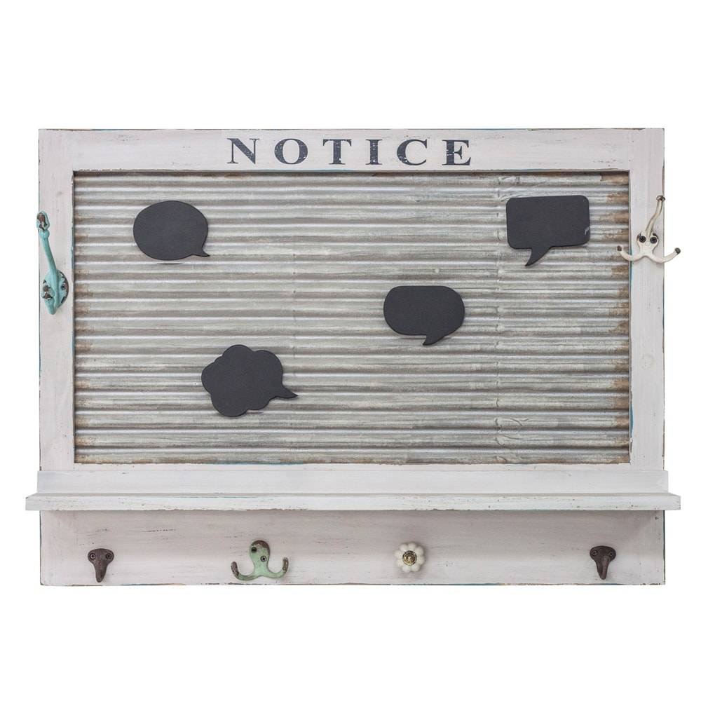 Porta Recados Notice com Pendurador Branco em Madeira - 76x54 cm