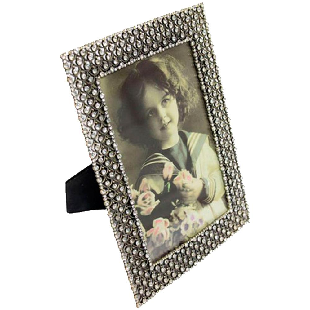 Porta-Retrado Diana Prata em Metal e Pedrarias - 19x14 cm