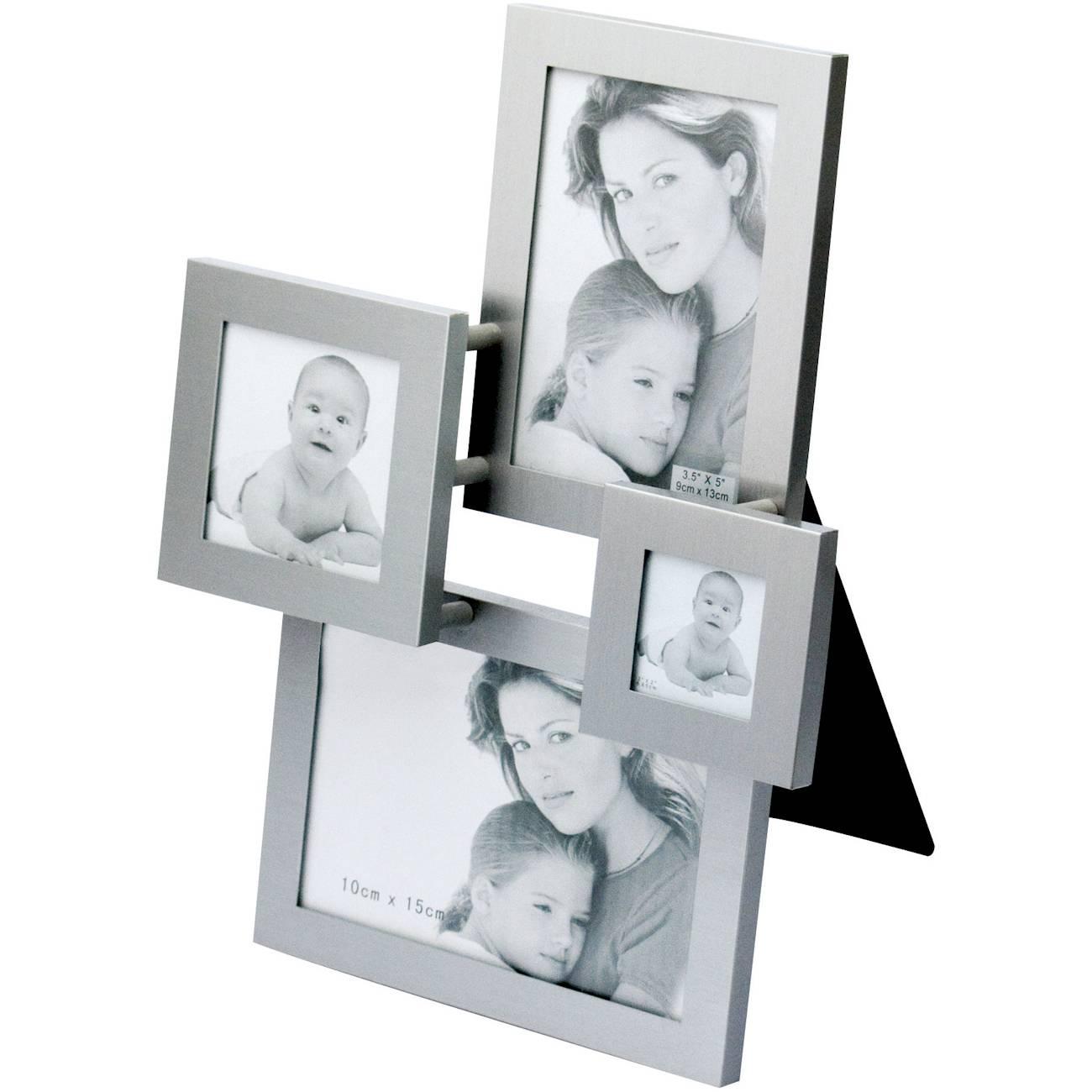 Porta-Retrato Square - para 4 Fotos - em Alúminio Escovado - Prestige