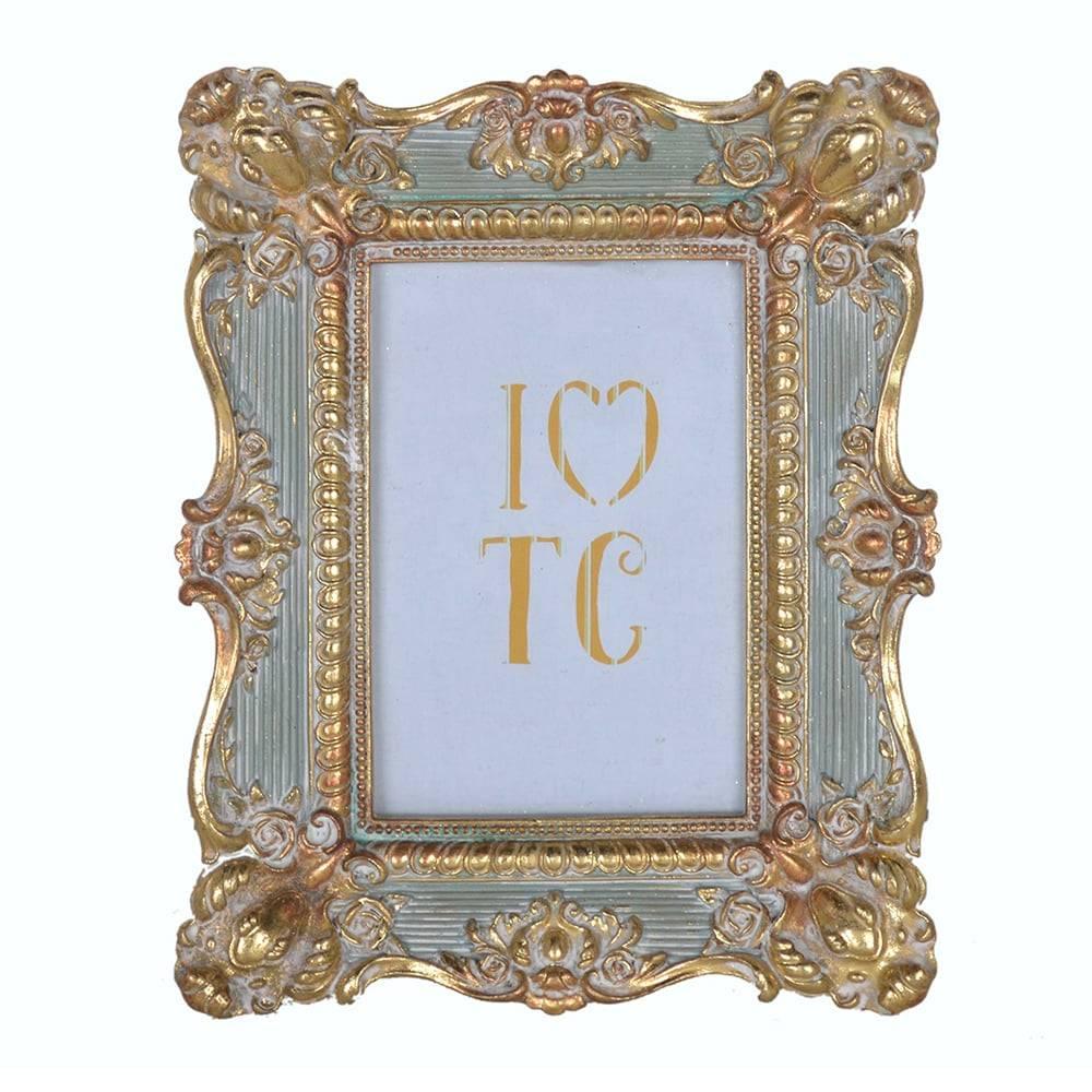 Porta Retrato Arabesco Clássico Dourado/Cinza em Resina - 24x19 cm