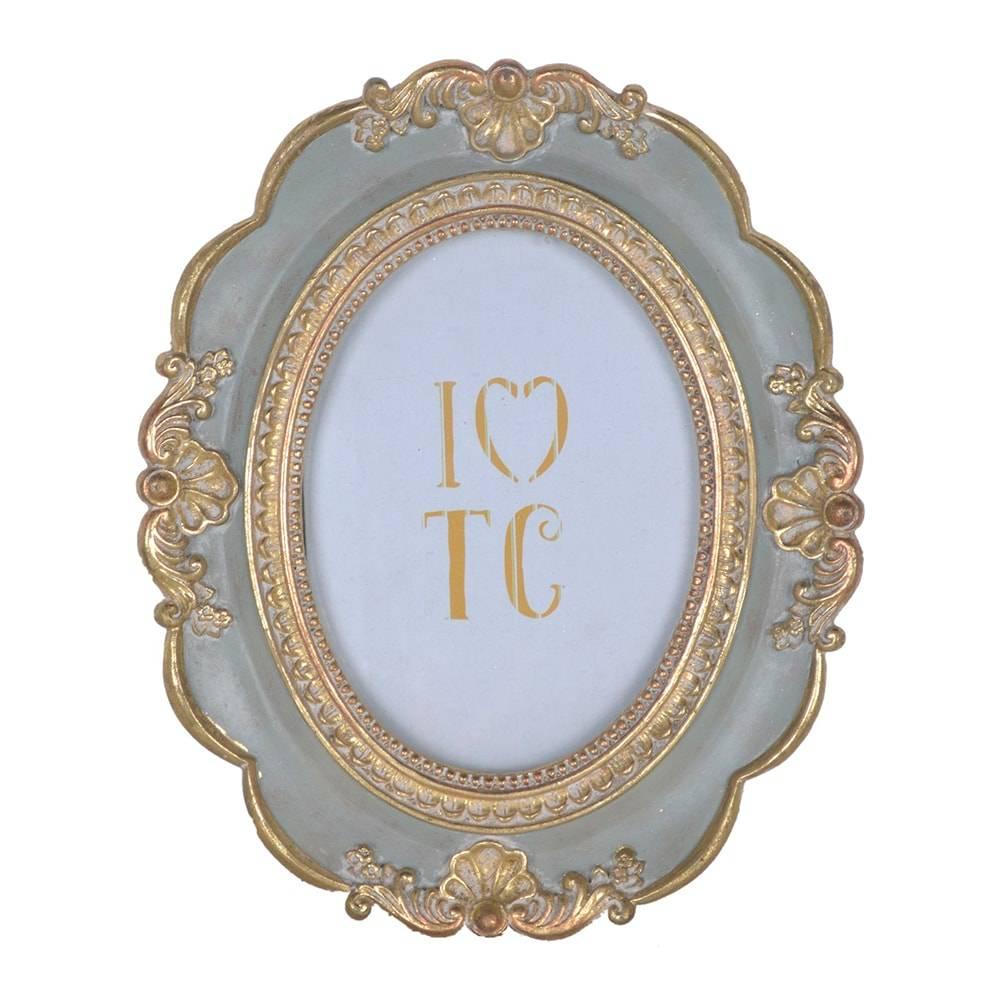 Porta Retrato Arabesco Clássico Oval Cinza/Dourado em Resina - 27x22 cm