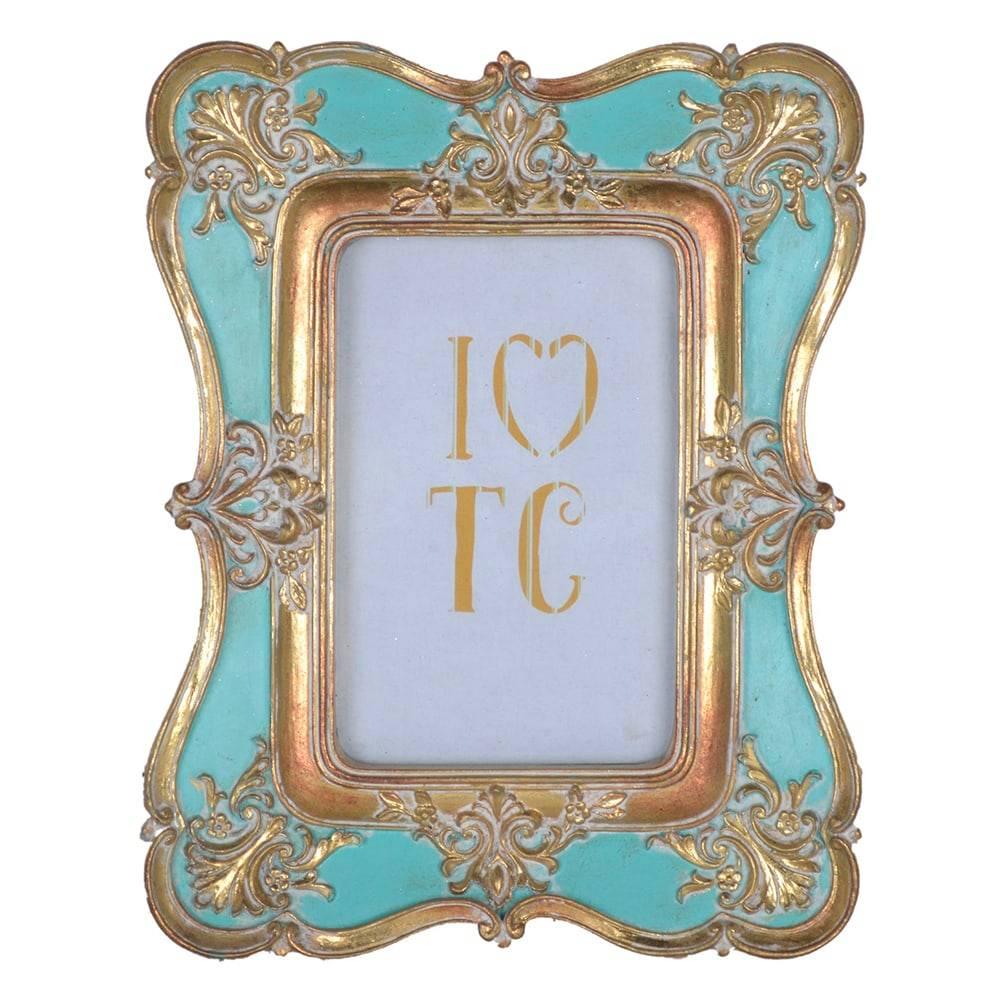 Porta Retrato Arabesco Clássico Turquesa/Dourado em Resina - 23x19 cm