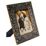 Porta-Retrato Arabescos Oldway Preto e Branco em Madeira - 37x31 cm