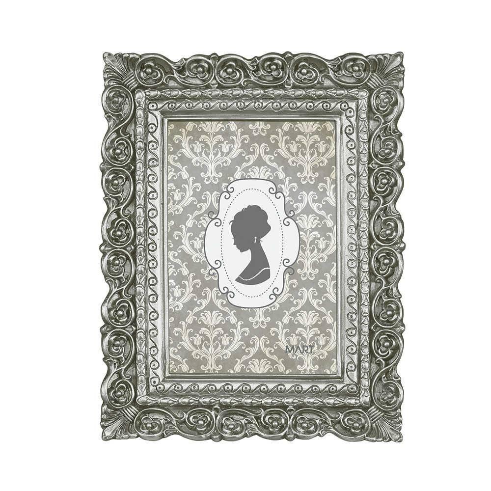 Porta Retrato Arabescos Prata - Foto 10x15 cm - Em Poliresina - 21,5x17 cm