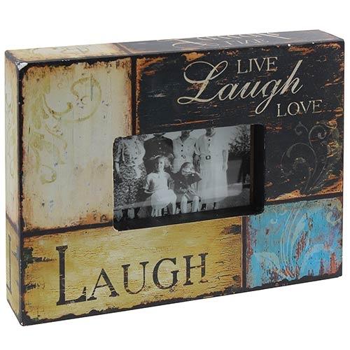 Porta-Retrato Caixa Live Laught Love Oldway Multicolorido em Madeira - 30x24 cm