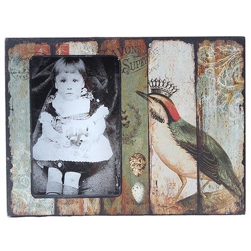 Porta-Retrato Pássaro com Coroa Oldway Multicolorido em Madeira - 24x18 cm
