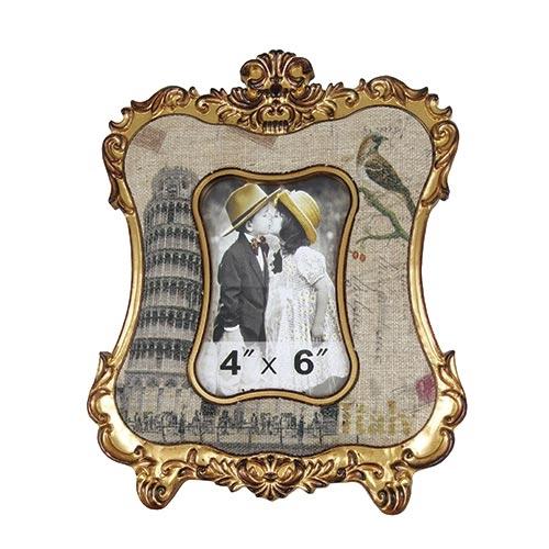 Porta-Retrato Clássico Torre de Pisa Dourado - Foto 10x15 - Oldway em Metal - 30x23 cm