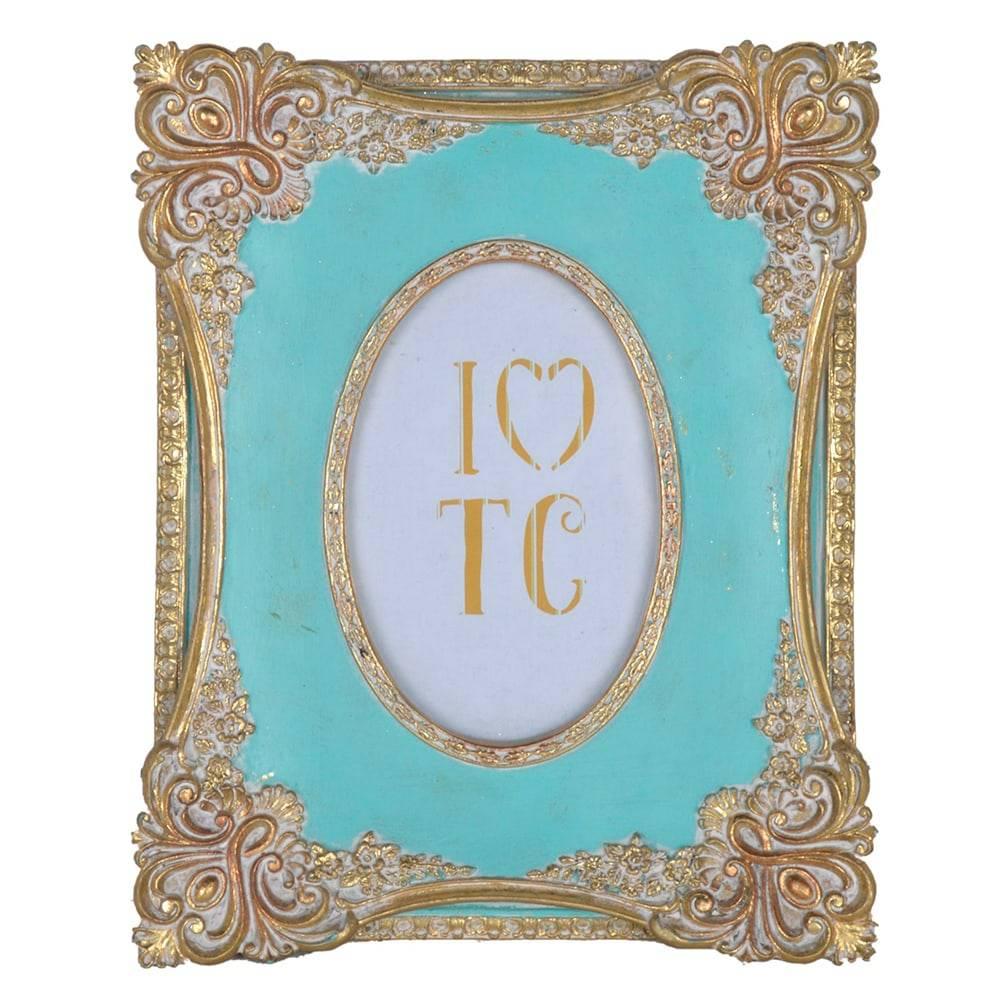 Porta Retrato Clássico Turquesa/Dourado em Resina - 26x21 cm