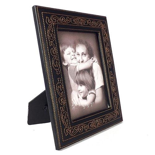 Porta-Retrato Preto Oldway em Couro Ecológico - 25x20 cm