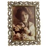 Porta-Retrato Francine Dourado em Metal e Pedrarias - 16x14 cm
