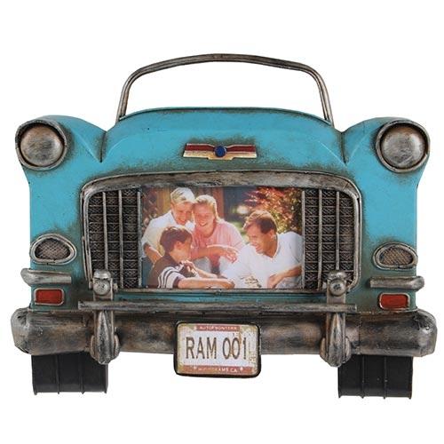Porta-Retrato Frente Capô Carro Azul Oldway em Metal - 29x24 cm