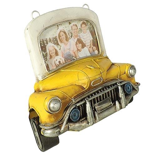 Porta-Retrato Frente Carro Amarelo Oldway em Metal - 20x20 cm