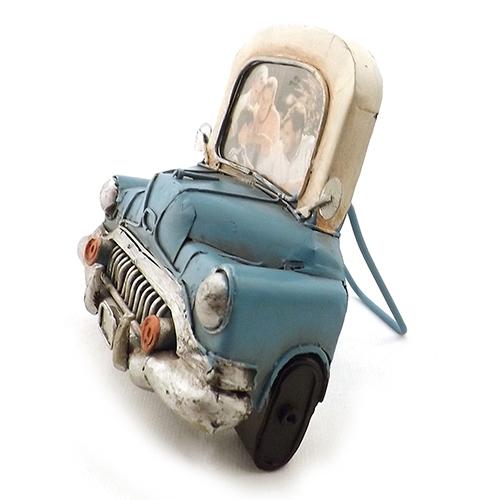 Porta-Retrato Frente de Carro Azul Oldway em Metal - 15x15 cm