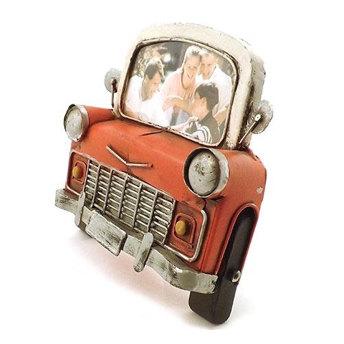 Porta-Retrato Frente de Carro Vermelho Oldway em Metal - 15x17 cm