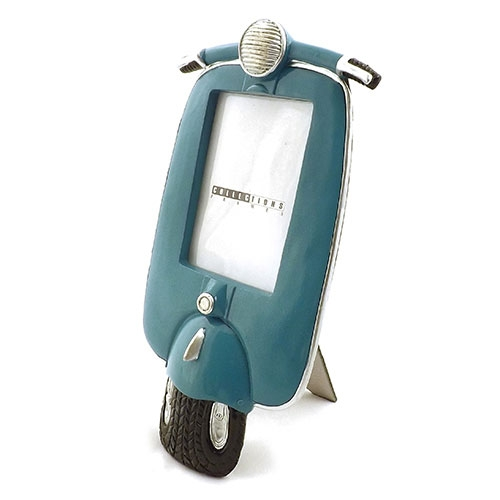 Porta Retrato Frente Motocicleta Azul Oldway - Metal / Acrílico - 15x29 cm