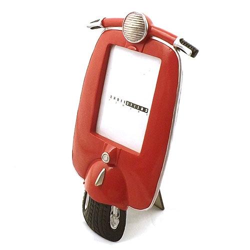 Porta Retrato Frente Motocicleta Vermelha Oldway - Metal / Acrílico - 15x29 cm