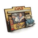 Porta-Retrato Gás/Fusca Azul Oldway em Metal - 24x18 cm