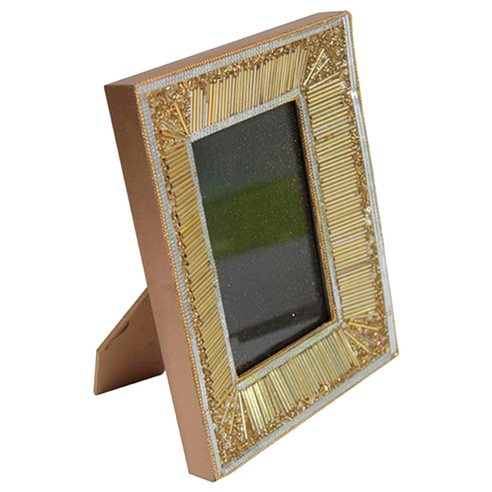 Porta-Retrato Golden Dourado e Bege em Madeira - 23x18 cm