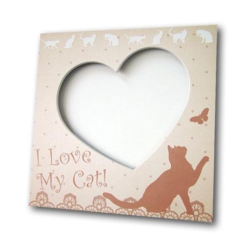 Porta-Retrato I Love My Cat Bege em MDF - 20x20 cm