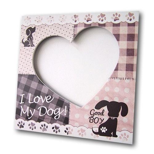 Porta-Retrato I Love My Dog Lilás em MDF - 20x20 cm