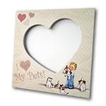 Porta-Retrato I Love My Pets Bege em MDF - 20x20 cm