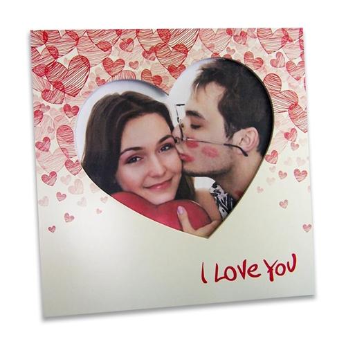 Porta-Retrato I Love You Vermelho em MDF - 20x20 cm