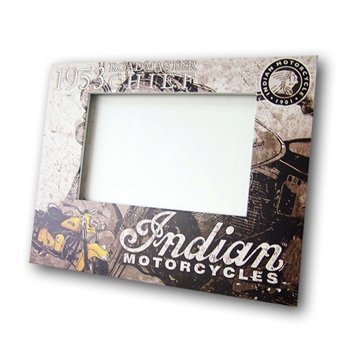 Porta-Retrato Indian Motorcycles Bege e Marrom em MDF - 24x19 cm