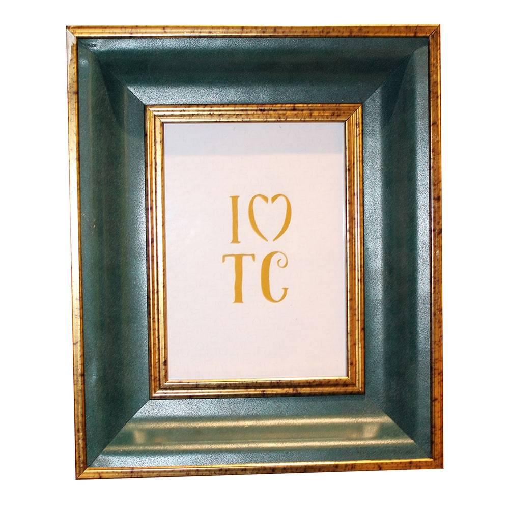 Porta Retrato Jade Ouro/Verde em Madeira - 29x24 cm