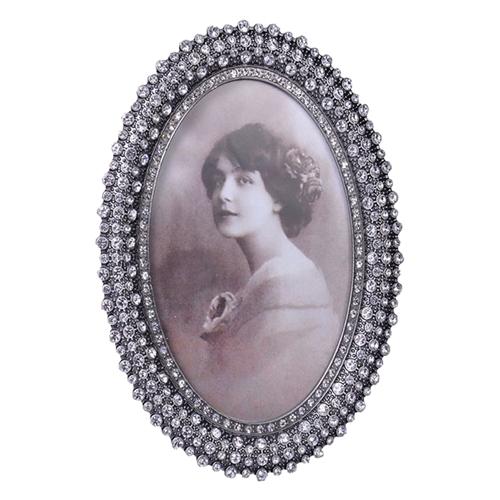Porta-Retrato Kate em Metal e Pedrarias - 19x15 cm