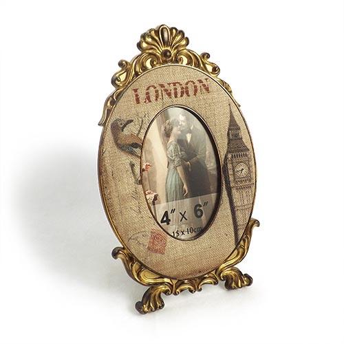 Porta-Retrato Linho Classic London Oldway - Metal e Madeira - 30x18 cm