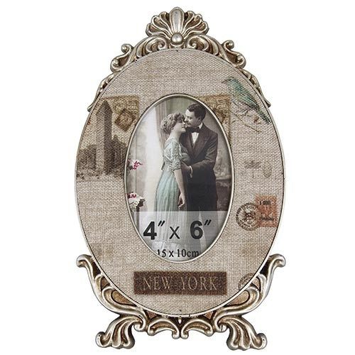 Porta-Retrato Linho New York Oldway Bege - Metal e Madeira - 36x22 cm