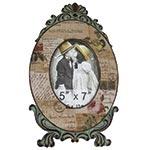 Porta-Retrato Linho Postal Oldway em Metal e Madeira - 36x22 cm