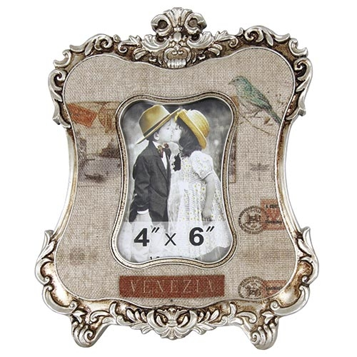 Porta-Retrato Linho Veneza Oldway em Metal e Madeira - 36x22 cm