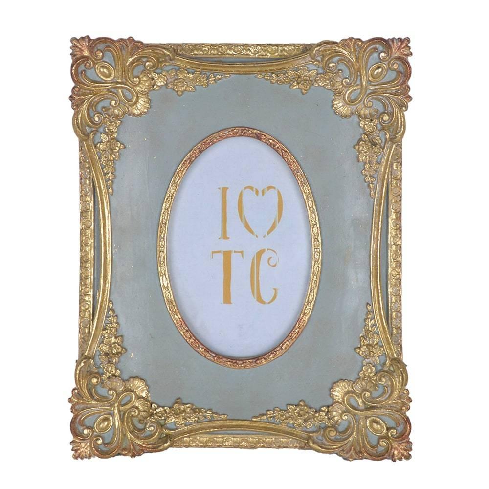 Porta Retrato Luxo Clássico Dourado/Cinza em Resina - 26x21 cm