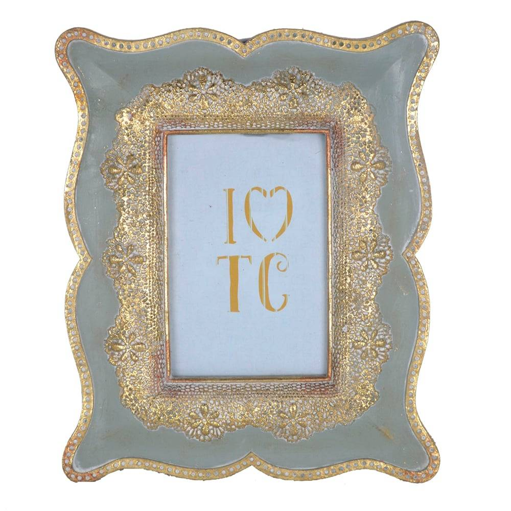 Porta Retrato Luxo Clássico Rendinha Dourado/Cinza em Resina - 27x22 cm