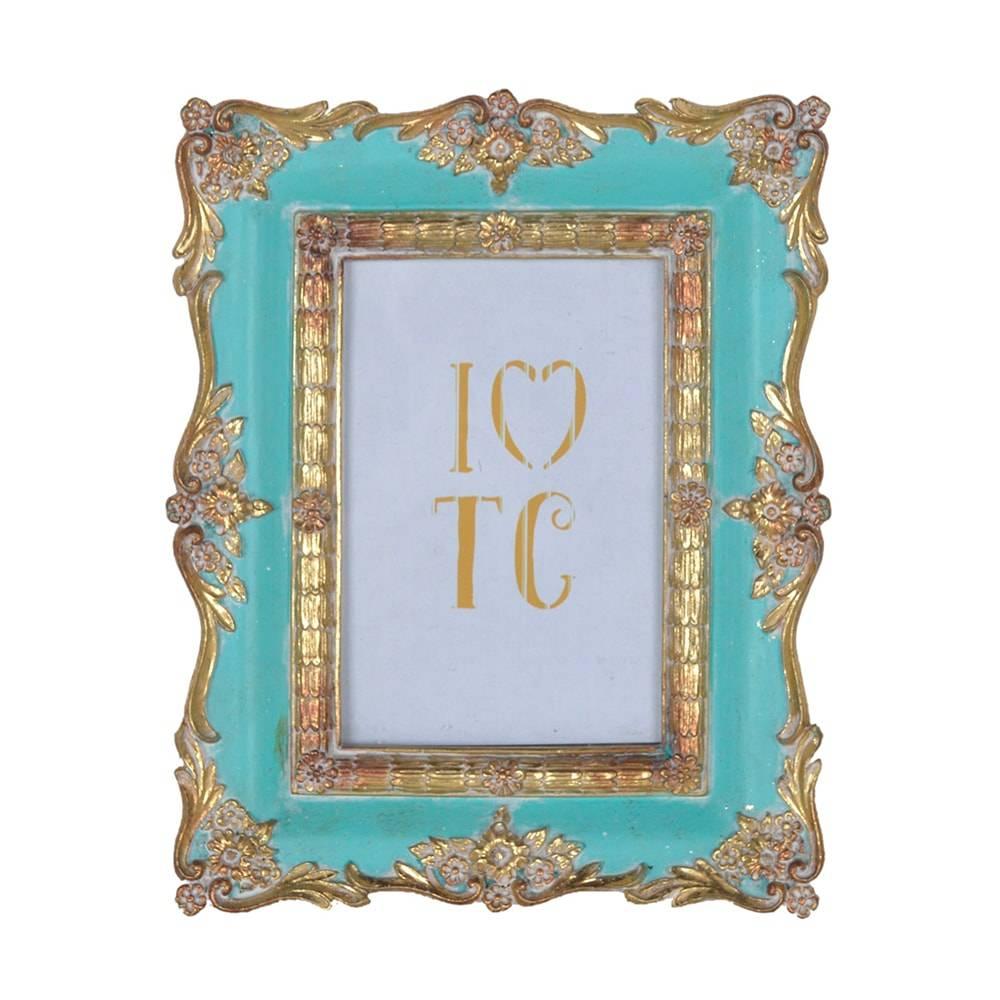 Porta Retrato Luxo Clássico Turquesa/Dourado em Resina - 23x19 cm