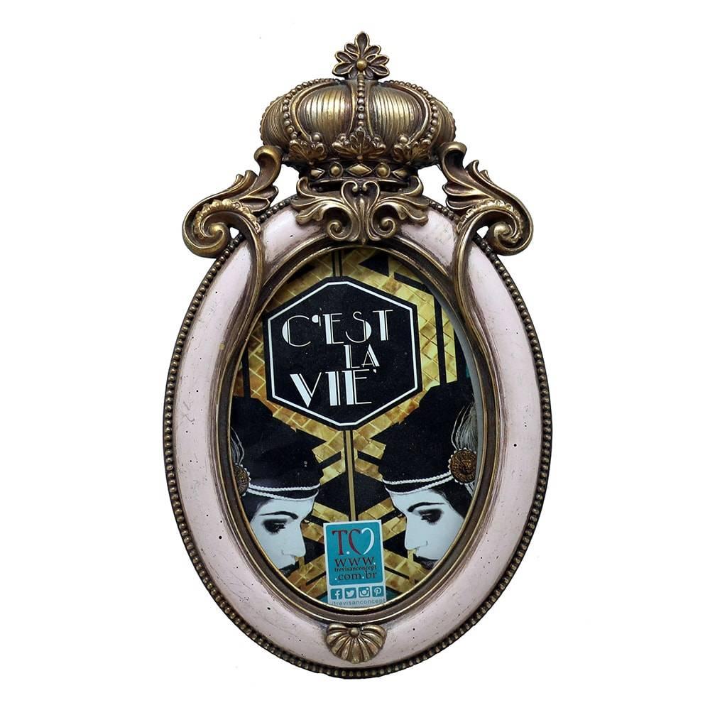 Porta Retrato Luxo Coroa Dourado/Rosa Oval Pequeno em Resina - 25x15 cm