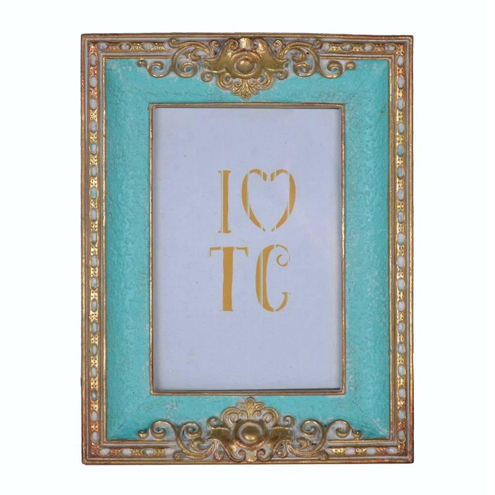 Porta Retrato Luxury Classic Turquesa/Dourado em Resina - 22x17 cm