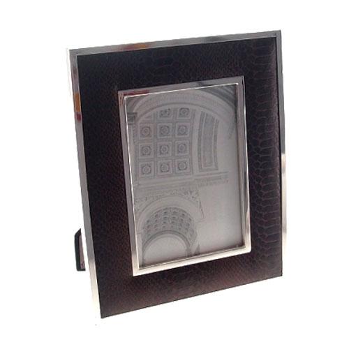 Porta Retrato Marrom/Prata em Alumínio - 24x19 cm
