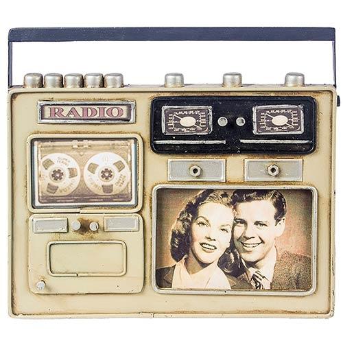 Porta-Retrato Mini Rádio Bege Oldway em Metal - 24x20 cm