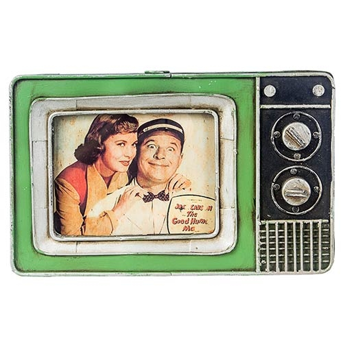 Porta-Retrato Mini TV Verde Oldway em Metal - 25x23 cm