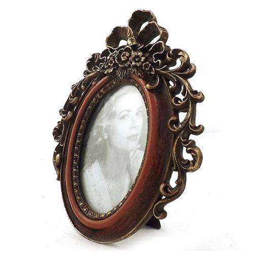 Porta Retrato Moldura de Flores - Resina / Acrílico - 20x25 cm