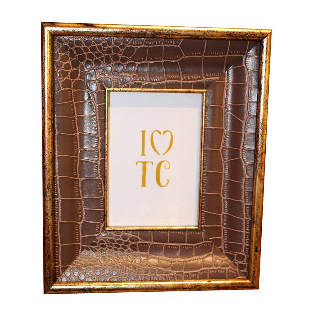 Porta Retrato Monari Simple Marrom - Foto 10x15 cm - em Couro Sintético - 22x19 cm