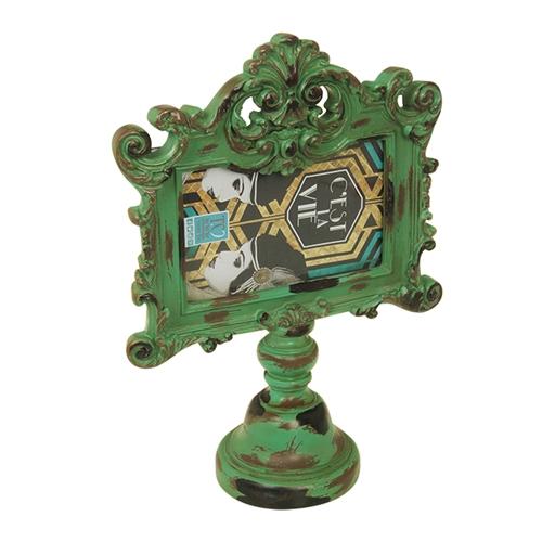 Porta-Retrato Pedestal Verde em Metal - 32x23 cm