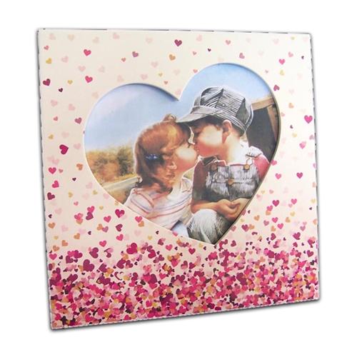 Porta-Retrato Corações Rosa em MDF - 20x20 cm