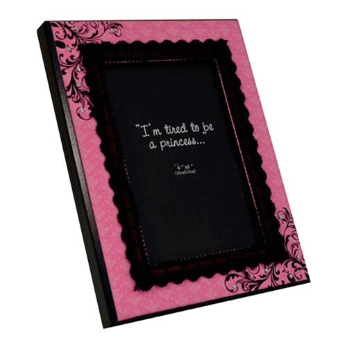 Porta-Retrato Rosa Pink com Veludo Preto em Madeira - 21x16 cm