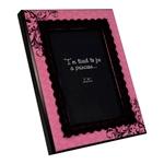 Porta-Retrato Rosa Pink com Veludo Preto em Madeira